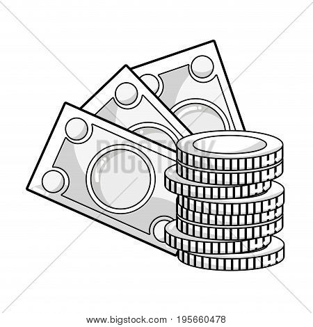 line bills and coins cash moey currency vector illustration