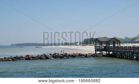Virginia, USA - May 2017: Families enjoying on Cape Charles Beach, Virginia on May 2017