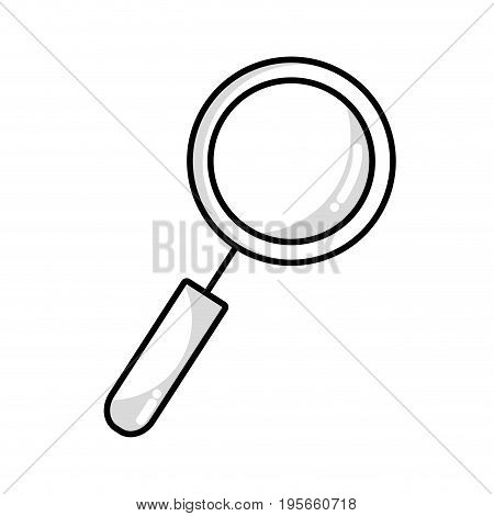 line magnifying glass tool to explore vector illustration