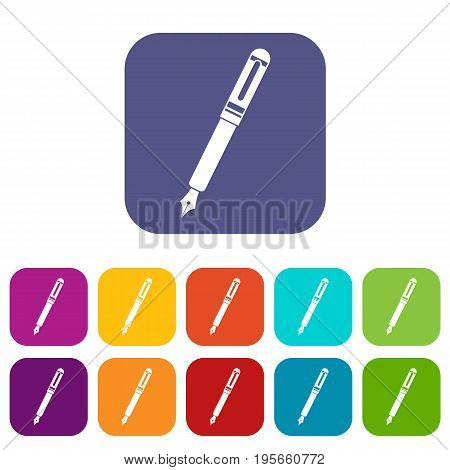 Black fountain pen icons set vector illustration in flat style In colors red, blue, green and other