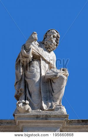 ROME, ITALY - SEPTEMBER 02: St. Anthony Abbot, fragment of colonnade of St. Peters Basilica. Papal Basilica of St. Peter in Vatican, Rome, Italy on September 02, 2016.