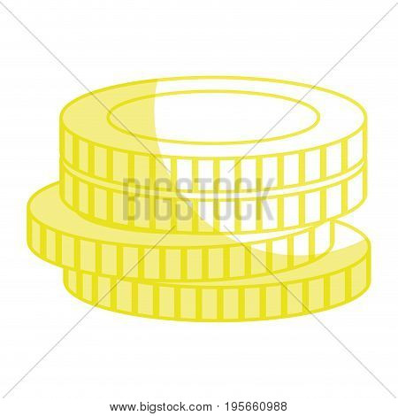 silhouette coins cash money to financial economy vector illustration