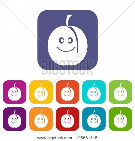 Fresh smiling apricot icons set vector illustration in flat style In colors red, blue, green and other