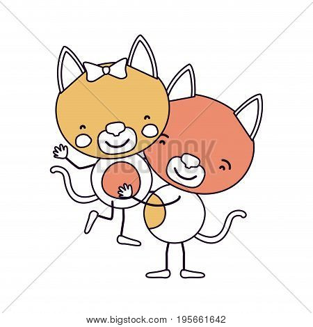 silhouette color sections caricature with couple of kittens one carrying the other cute animals love vector illustration