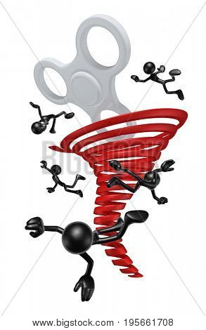 Fidget Spinner Tornado With The Original 3D Characters Illustration