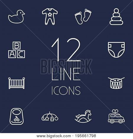 Set Of 12 Baby Outline Icons Set.Collection Of Clockwork Car, Rubber, Alphabet Cubes And Other Elements.
