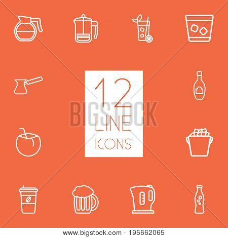Set Of 12 Beverages Outline Icons Set.Collection Of Coffeepot, Soda, Beer And Other Elements.