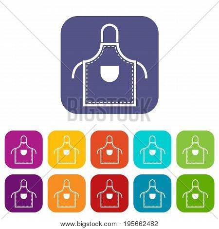 Welding apron icons set vector illustration in flat style In colors red, blue, green and other