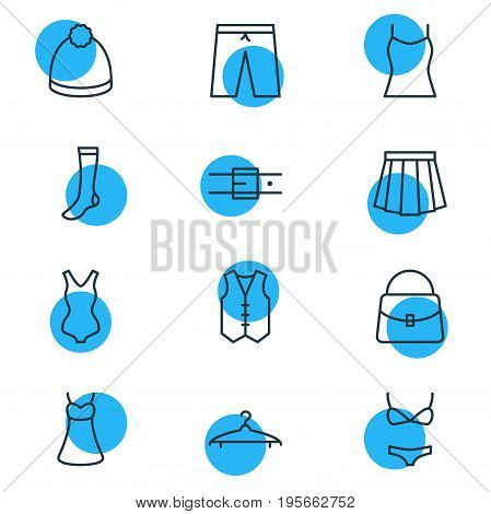 Vector Illustration Of 12 Garment Icons. Editable Pack Of Hosiery, Cloakroom, Apparel And Other Elements.