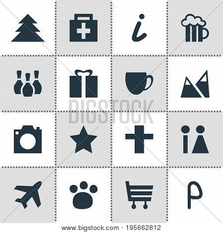 Vector Illustration Of 16 Location Icons. Editable Pack Of Coffee Shop, Aircraft, Beer Mug And Other Elements.