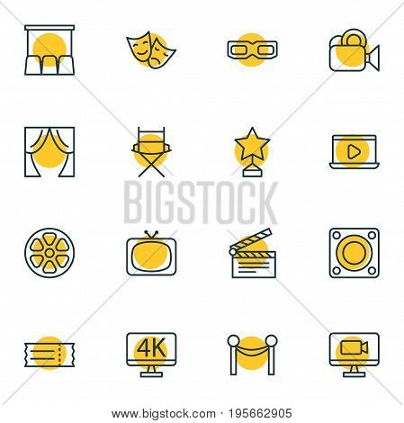 Vector Illustration Of 16 Cinema Icons. Editable Pack Of Coupon, Reward, Television And Other Elements.
