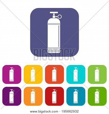 Compressed gas container icons set vector illustration in flat style In colors red, blue, green and other