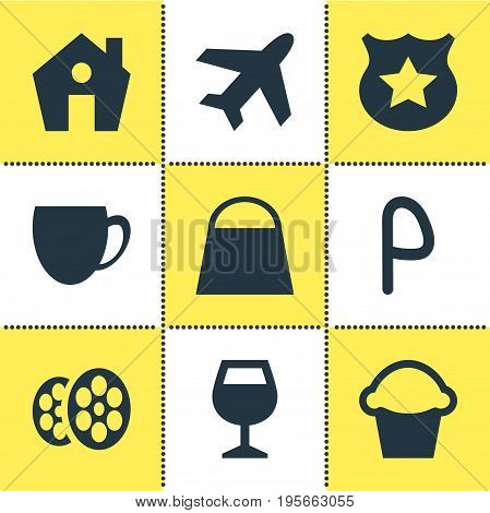 Vector Illustration Of 9 Check-In Icons. Editable Pack Of Handbag, Coffee Shop, Home Elements.