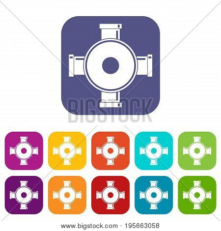 Pipe fitting icons set vector illustration in flat style In colors red, blue, green and other