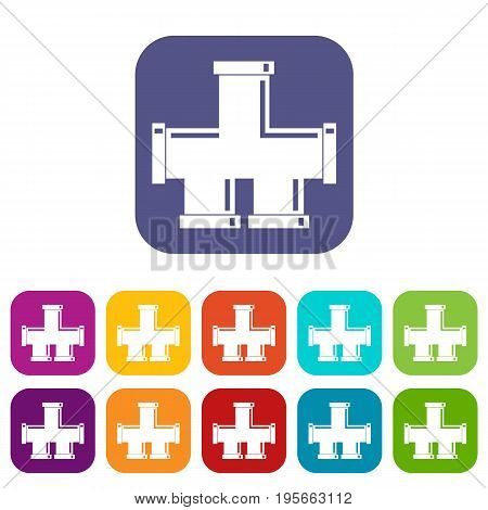 Drain system icons set vector illustration in flat style In colors red, blue, green and other