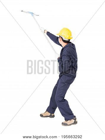 Man Hold Squeegee Window Cleaner Isolated On White