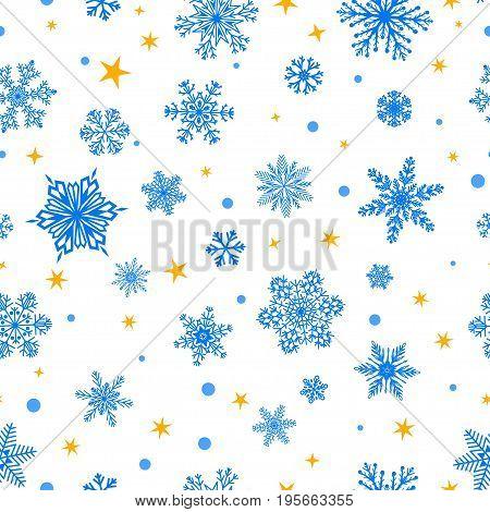Seamless Pattern Of Snowflakes, Blue On White