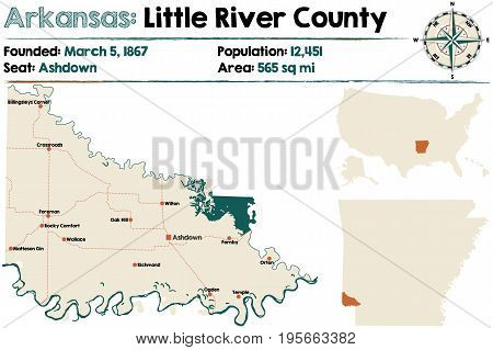 Large and detailed map of Arkansas - Little River county