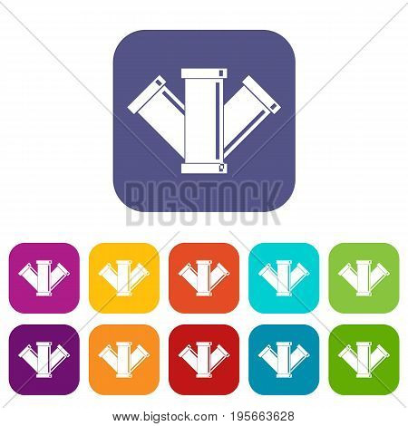 Sewerage icons set vector illustration in flat style In colors red, blue, green and other