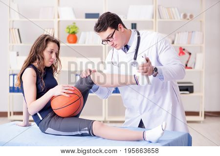 Man doctor taking care of sports injury