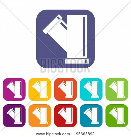 Tee fitting pipe icons set vector illustration in flat style In colors red, blue, green and other
