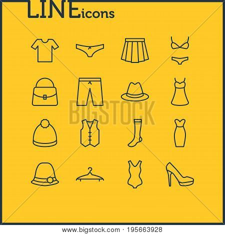 Vector Illustration Of 16 Garment Icons. Editable Pack Of Casual, Hosiery, Sarafan And Other Elements.