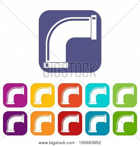 Water pipe icons set vector illustration in flat style In colors red, blue, green and other