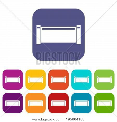 Pipe piece icons set vector illustration in flat style In colors red, blue, green and other