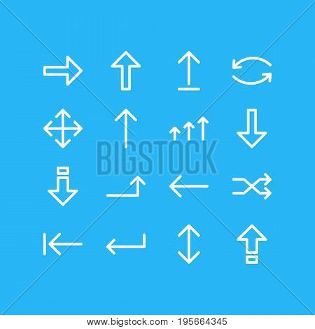 Vector Illustration Of 16 Arrows Icons. Editable Pack Of Update, Down, Right And Other Elements.