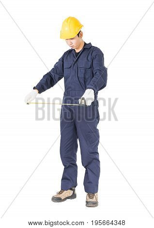 Young Worker In Unifrom With Tape Measure On White