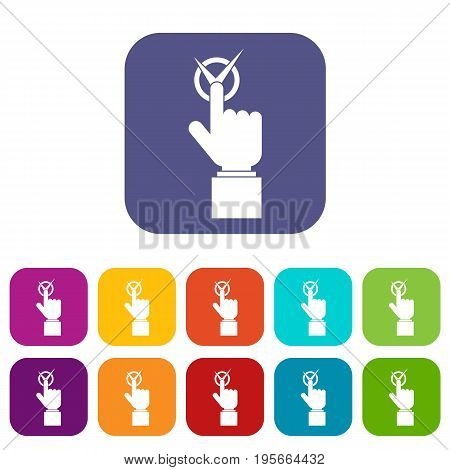 Hand finger pressing button with tick icons set vector illustration in flat style In colors red, blue, green and other