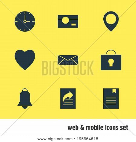 Vector Illustration Of 9 Internet Icons. Editable Pack Of Capture, Map Pointer, Letter And Other Elements.