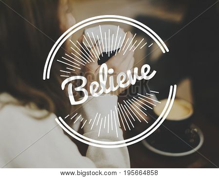 Believe Life Attitude Positivity Word Graphic Stamp