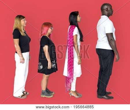 Group of diverse people standing in a row