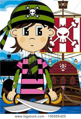 Cute Cartoon Pirate Buccaneer in Bandana with Pirates Ship
