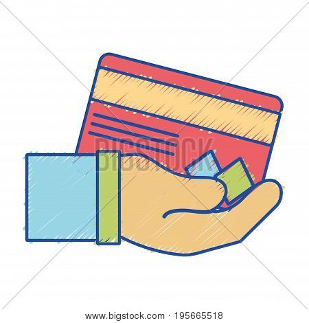 credit card electronic currency in the hand vector illustration