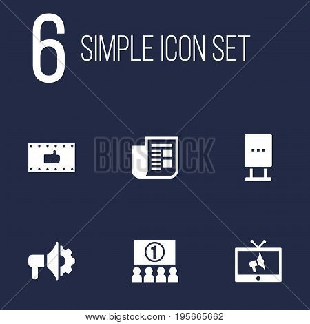 Set Of 6 Commercial Icons Set.Collection Of Journal, Loudspeaker, Like And Other Elements.