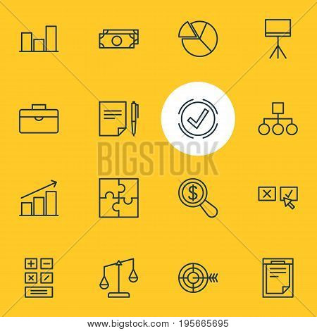 Vector Illustration Of 16 Trade Icons. Editable Pack Of Cash, Riddle, Scheme And Other Elements.