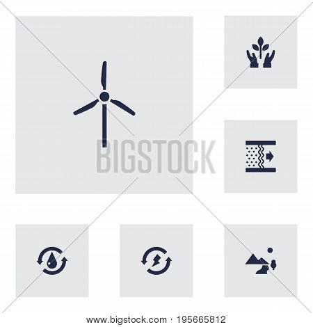Set Of 6 Bio Icons Set.Collection Of Fan, Treatment, Purification And Other Elements.