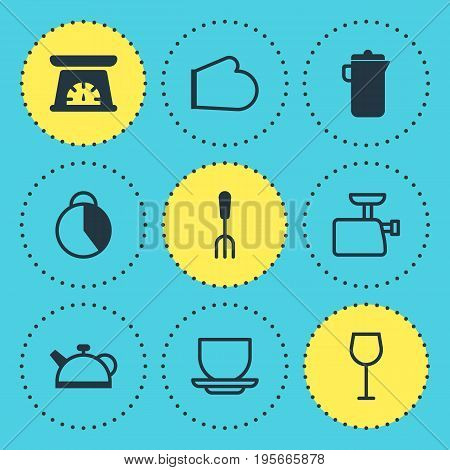 Vector Illustration Of 9 Kitchenware Icons. Editable Pack Of Timekeeper, Oven Mitts, Coffee Cup And Other Elements.