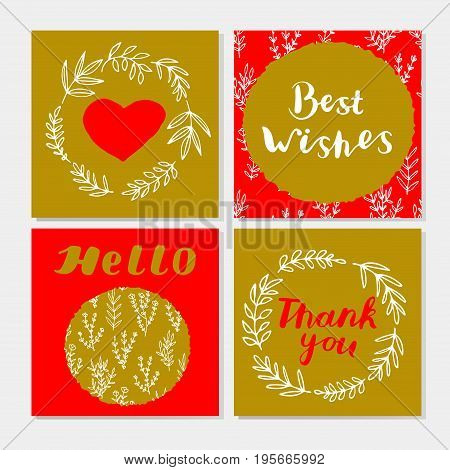 Set of cute cards with hand lettering laurel wreaths branches leaves heart. Best wishes. Thank you. Hello. Vector illustration.