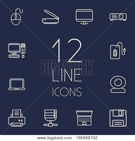 Set Of 12 Laptop Outline Icons Set.Collection Of Server, Powerbank, Web Cam And Other Elements.