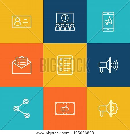 Set Of 9 Commercial Outline Icons Set.Collection Of Promotion, Email Promotion, Mobile Marketing And Other Elements.