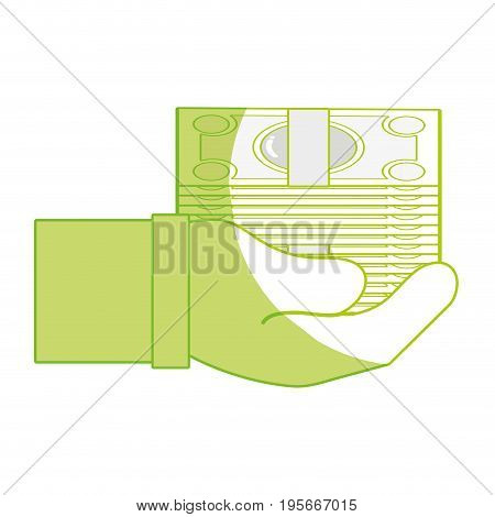silhouette bill cash money in the hand vector illustration design