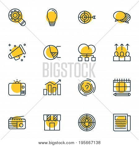 Vector Illustration Of 16 Advertising Icons. Editable Pack Of Cloud Distribution, Advancement, Aiming And Other Elements.