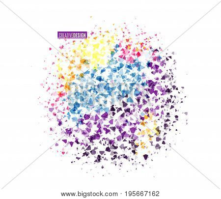 Vector illustration of dynamic creative abstract background in round shape. Retro vivid geometric design with triangle particle texture