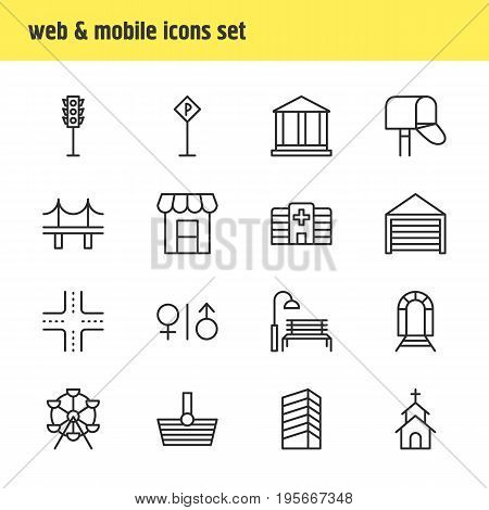 Vector Illustration Of 16 Urban Icons. Editable Pack Of Basket, Parking, Semaphore And Other Elements.