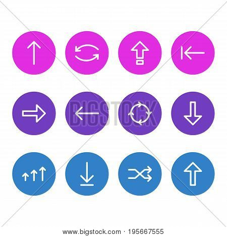 Vector Illustration Of 12 Arrows Icons. Editable Pack Of Loading  , Circle , Randomize Elements.
