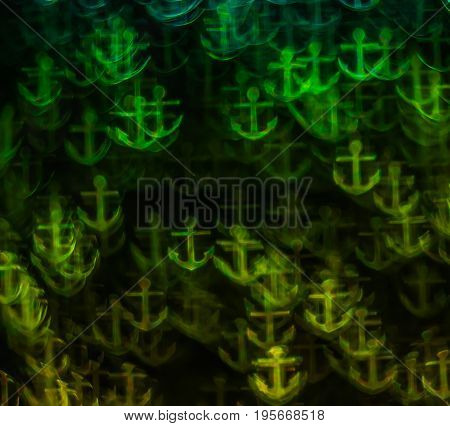 Beautiful Background With Different Colored Anchors, Abstract Background, Anchor Shapes On Black Bac