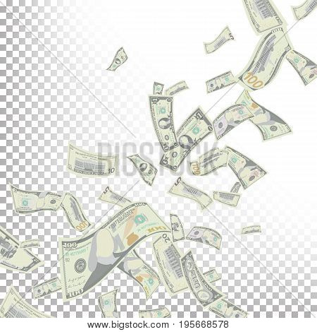 Flying US Dollars Vector. Detailed Falling US Cartoon Money Bills. Falling Finance Every Denomination In The Air Isolated On White Illustration